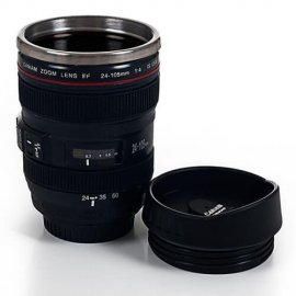 Whetstone 12 oz. Camera Lens Coffee Mug with Lid
